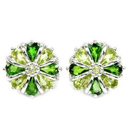 NATURAL AAA GREEN CHROME DIOPSIDE & PERIDOT Earrings