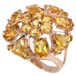 NATURAL AAA ORANGISH YELLOW CITRINE Ring