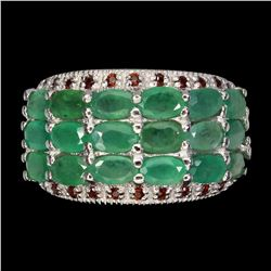 Natural Top Green Emerald & Garnet Ring