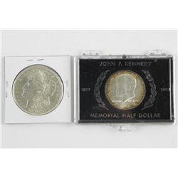 Lot (2) USA Silver Coins 1921 Silver Dollar 1964 J