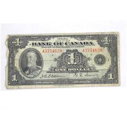 Bank of Canada 1935 (a) One Dollar Osborne Towers.