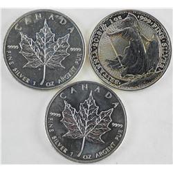 Lot (3) .9999 Fine Silver Coins 2x ML 1xBritannia.