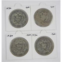 Lot (4) Venezuela .900 Silver Estados Coins, 18? -