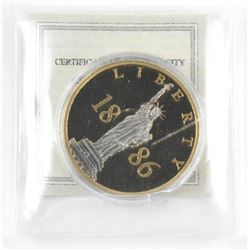Liberty Coin. 40mm, Proof. Layered in 24kt Gold wi