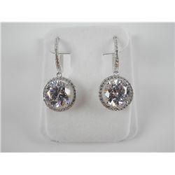 925 Silver 2 Tier Drop Earrings with Swarovski Ele