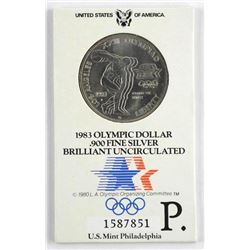 1980 Olympic .900 Fine Silver Brilliant UNC Dollar