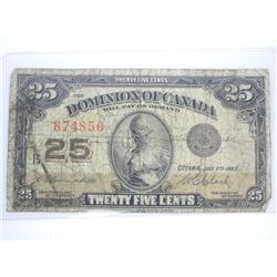 Dominion of Canada 1923 - Twenty Five Cent Note.