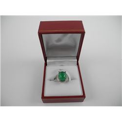 925 Silver Custom Ring Oval Cabochon Jadeite and S