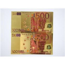 Lot (2) 599 EURO 24kt Gold Leaf Notes