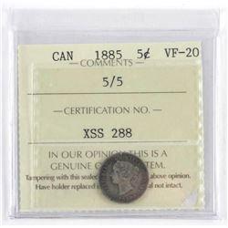1885 Canada 5 Cent UF-20 ICCS.