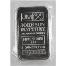 JM .999 Fine Silver Bar 5 Ounces Troy No Longer in