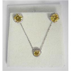 925 Silver Canary Swarovski Element Jewellery Set,
