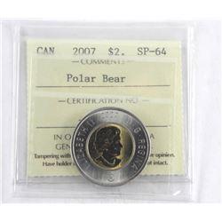 Canada 2007 $2 SP-64 Polar Bear.
