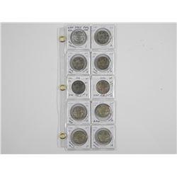 Lot (10) CAD Silver 50 Cent Dealer Stock: 1940s-19