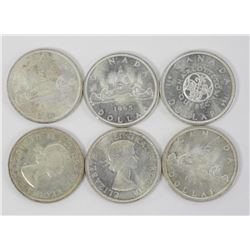 Lot (6) CAD Silver Dollars: 1964 and 1965