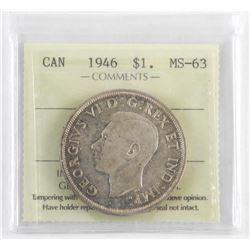 1946 Canada Silver Dollar MS-63 ICCS.