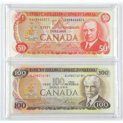Lot of (2) Bank of Canada Notes. Matched Year 1975