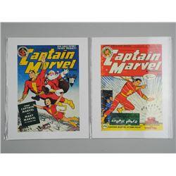 Lot (2) 'Captain Marvel' Vintage Comic Covers. 11x