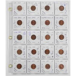 Lot (20) CAD One Cent 1967-1980s (EXR)
