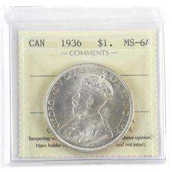 1936 Canada $1.00 MS-64 ICCS.
