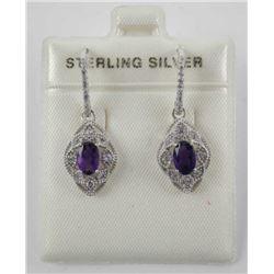 925 St. Silver Oval Amethyst Drop Earring 1ct.