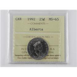1992 CAD 25 Cent ALBERTA MS65. ICCS.
