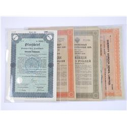Lot (5) Imperial Russia Paper, German Stock Certs