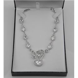 925 Silver Fancy Custom Necklace Set with 85ct Swa