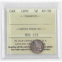 1899 Canada 5 Cent AU-58 ICCS.