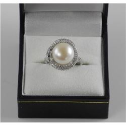 Ladies 925 Silver Custom Pearl Ring with Swarovski