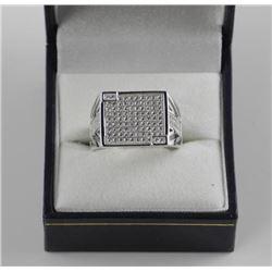 Gents 925 Silver Ring Pave Set with Swarovski Elem
