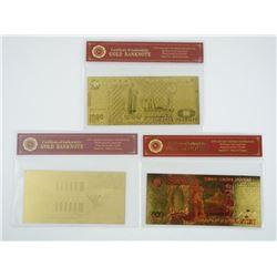 Lot (3) 24kt Gold Leaf Collector Notes