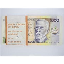 Original Bank Brick (100) Notes Brasil - 1000 'Cru