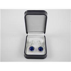 925 Silver 2 Tier Drop Earrings - Sapphire Blue Sw