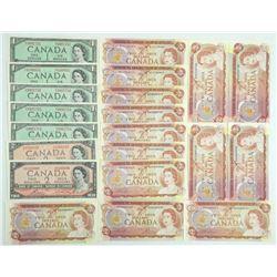 Estate Lot - Mix Canada $1.00 & $2.00 Notes 21pc.
