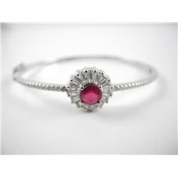 925 Sterling Silver Bangle Cuff Bracelet Round Rub