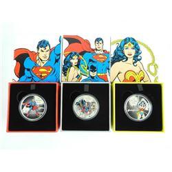 Lot (3) DC Comics - .9999 Fine Silver $20.00 Coins