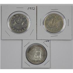 Lot (3) CAD Silver Dollars 1952, 1958, 1949