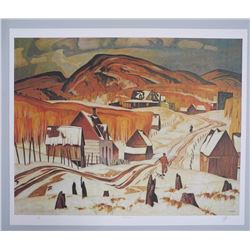 """A.J. Casson (1898-1992) """"Early Snow"""" Lithograph."""