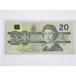 Bank of Canada 1991 $20. (AIX).