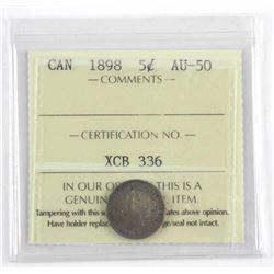 1898 Canada 5 Cent AU-50 ICCS.