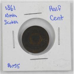 1861 Nova Scotia Half Cent (AU55)