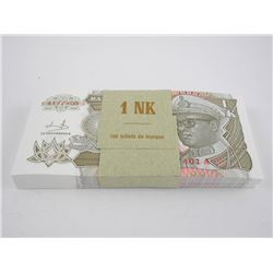 """Brick (100) """"Zaire"""" 193 1NK Notes In Sequence."""