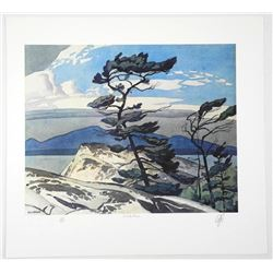 """Rare - A.J. Casson (1898-1992) """"White Pine"""" Lith"""