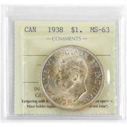 1938 Canada Silver Dollar MS-63 ICCS.