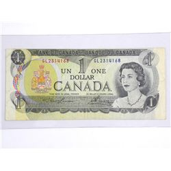Bank of Canada 1973 One Dollar. (miscut)