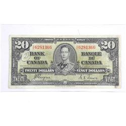 Bank of Canada 1937 Twenty Dollar Note. C/T