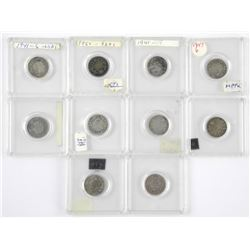 Lot (10) Canada Silver 10 Cents. Mostly 925 Silver