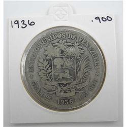 1936 Venezuela Estados .900 Silver Coin