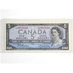 Bank of Canada 1954 Five Dollar Note * Replacement